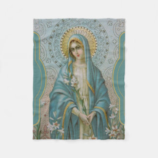 Blessed Virgin Mother Mary  with Lilies Fleece Blanket