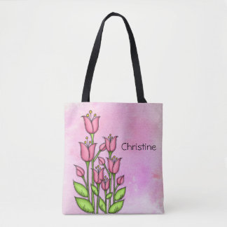 Blessed Watercolor Doodle Flower Bag