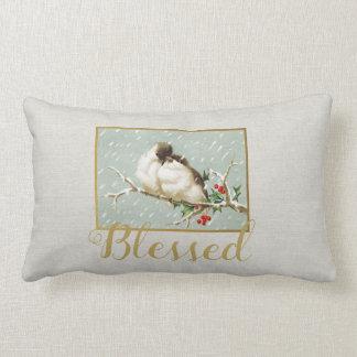 Blessed Winter Vintage Snow Birds Lumbar Cushion