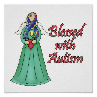 Blessed With Autism Awarness Angel Design Print