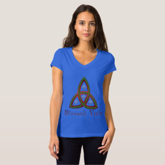 Blessed Yule Ladies Jersey V-Neck T-Shirt