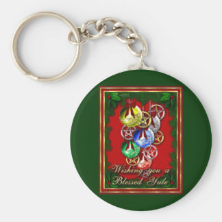 Blessed Yule Wicca Christmas Pentagram Basic Round Button Key Ring