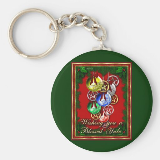 Blessed Yule Wicca Christmas Pentagram Key Chains