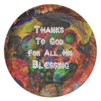 Blessing and happy Thanksgiving Plate