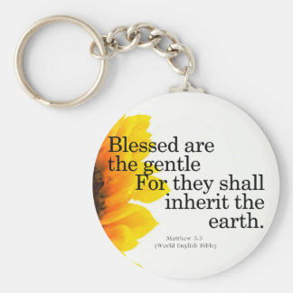 Blessing for Gentleness Matthew 5:5 Basic Round Button Key Ring