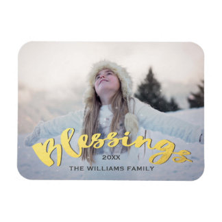 Blessings Faux Gold Script Holiday Christmas Photo Rectangular Photo Magnet