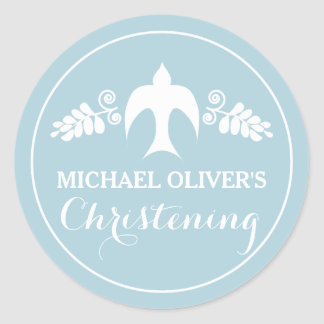 Blessings for Baby Boy Christening Invitation Round Sticker