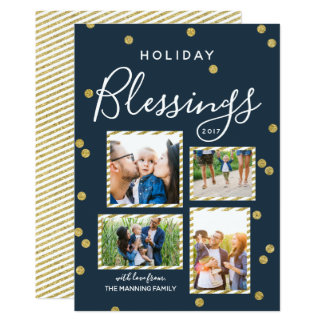 Blessings Gold Confetti | Holiday Photo Collage Card