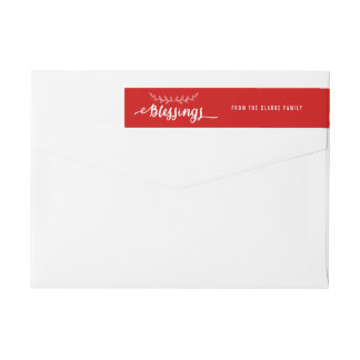 Blessings Red and White | Holiday Wraparound Label
