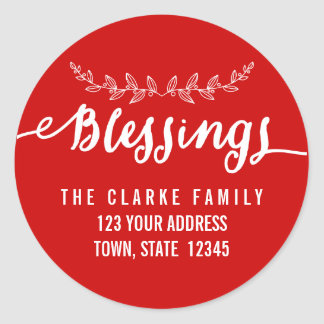 Blessings Red White | Holiday Address Stickers