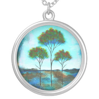Blessings Round Pendant Necklace Painting