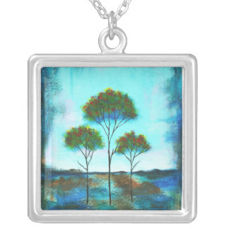 Blessings Square Pendant Necklace Painting