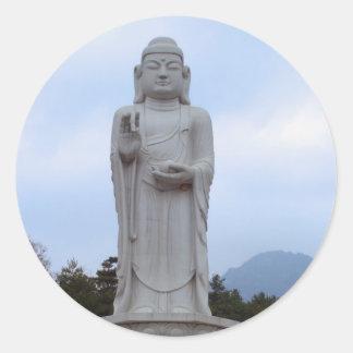 Blessings - Stone Buddha statue in Korea Round Sticker