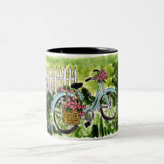 Bleu Bicycle in the Garden Two-Tone Coffee Mug