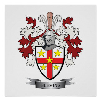 Blevins Family Crest Coat of Arms Poster