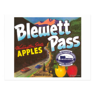 Blewett Pass Apple Label - Cashmere, WA Postcard