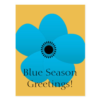 Blight Blue Holiday Season Flower Gift Postcard