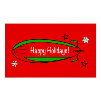 Blimp Floating through the Snow: Happy Holidays! Poster