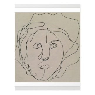 Blind contour drawing design postcard
