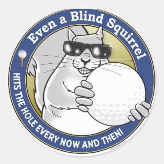 Blind Squirrel Golf Round Sticker