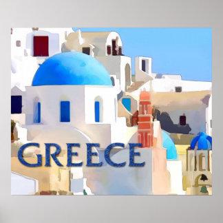 Blinding White Buildings in Greece Poster