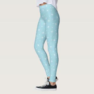 Bling 1950s Retro Star Blue Art Design Pattern Leggings