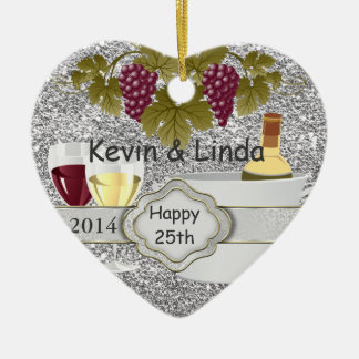 BLING 25th ANNIVERSARY GIFT ORNAMENT WINE LOVERS