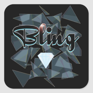 Bling abstract design square sticker