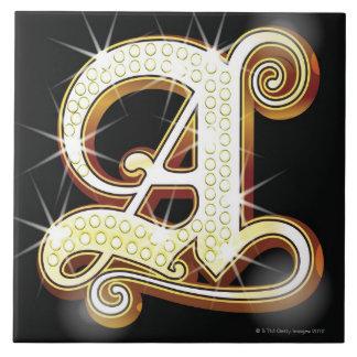 Bling alphabet A Ceramic Tile
