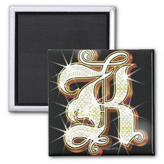 Bling alphabet K Square Magnet