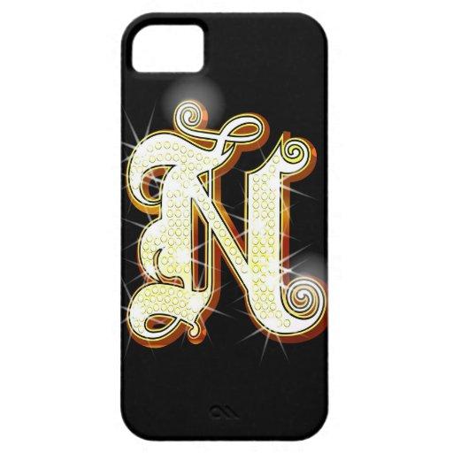 Bling alphabet N iPhone 5 Cases