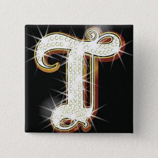 Bling alphabet T 15 Cm Square Badge