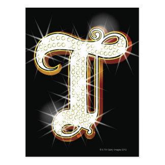 Bling alphabet T Postcard