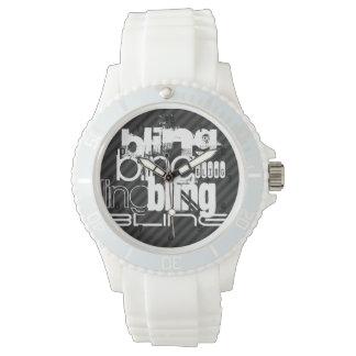 Bling; Black & Dark Gray Stripes Wristwatches