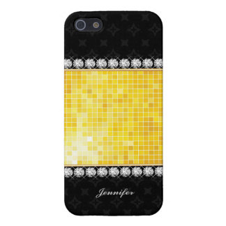 Bling Bling Diamonds Gold Luxury & Black Texture | iPhone 5/5S Case