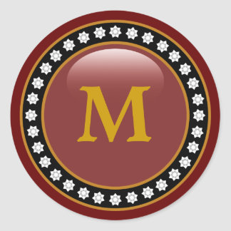 Bling Bling Monogram Round Sticker