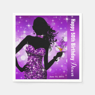 Bling Bombshell Sparkle Birthday Party | purple Disposable Serviettes
