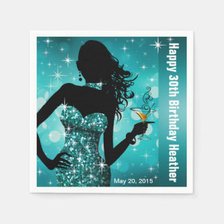 Bling Bombshell Sparkle Birthday Party | teal Paper Napkin