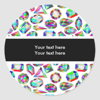 Bling Colorful Faux Jewels Classic Round Sticker