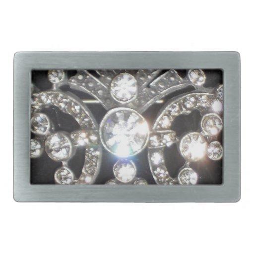 Bling Diamond Jewel on Black Velvet Rectangular Belt Buckle