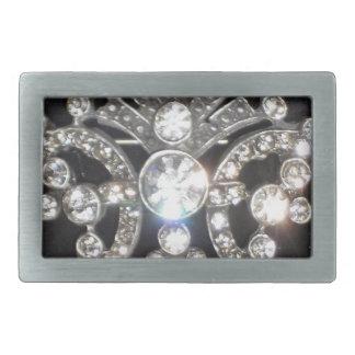 Bling Diamond Jewel on Black Velvet Rectangular Belt Buckles