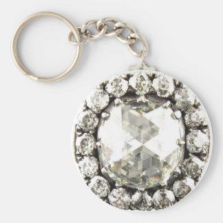 Bling Diamond Rhinestone Vintage Costume Jewelry Basic Round Button Key Ring