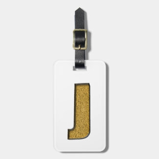Bling Gold J Luggage Tag