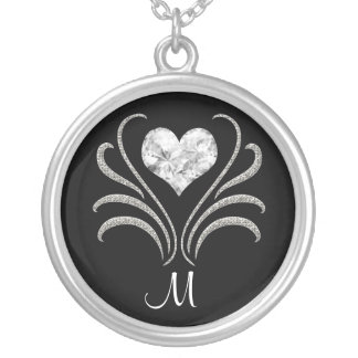 Bling Heart Initial - SRF Round Pendant Necklace