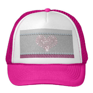 Bling Heart on Glitter white leather and pink Hat