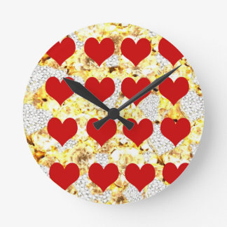 BLING HEARTS ROUND CLOCK