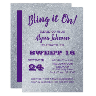Bling it On Silver Sparkles Purple Sweet 16 Card