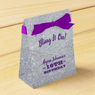 Bling it On Silver Sparkles Purple Sweet 16 Favour Box