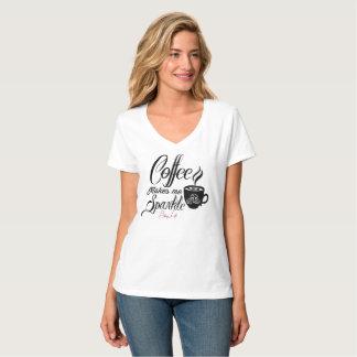 Bling Life Coffee Makes Me Sparkle V-Neck T-Shirt