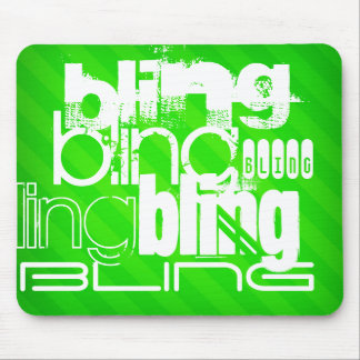 Bling; Neon Green Stripes Mouse Pad